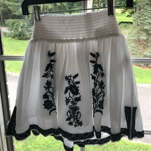 White and Black Embroidered J. Crew Skirt